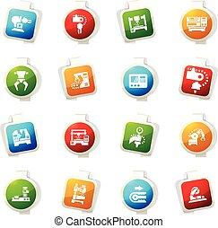 Machine tool icons set