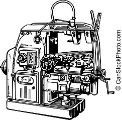 Machine tool - Old machine tool isolated on white background