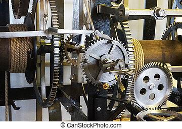 machine, tour, vieux, horloge