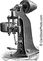 Machine trimming raw nuts forges mechanically, vintage engraving.