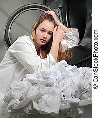 machine, triste, figure, lavage, femme
