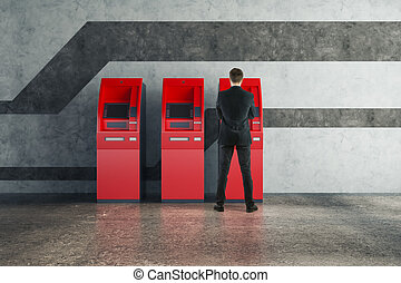 machine, utilisation, distributeur billets banque, rouges, homme