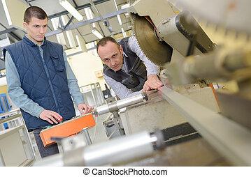 machine, utilisation, mâle, usine, ingénieur
