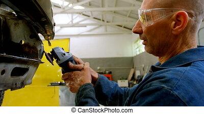 machine, utilisation, mécanicien voiture, émoulage, 4k