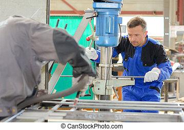 machine, utilisation, ouvrier, hydraulique