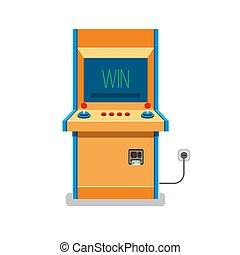 machine, vector, oud, arcade, illustratie
