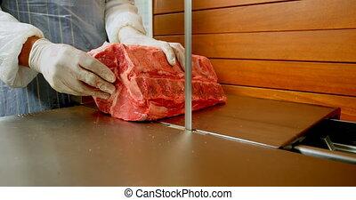 machine, viande, découpage, 4k, boucherie