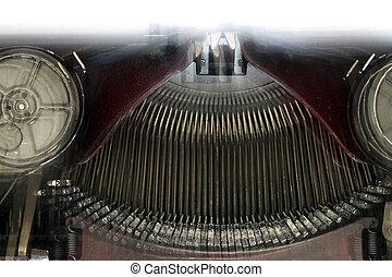 machine, vieux, typewriting, -, brouillé