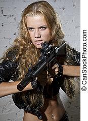 machine, vrouw, gegil, geweer