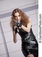 machine, vrouw, geweer, gevaar