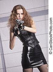 machine, vrouw, speelgoed vuurwapen, vasthouden