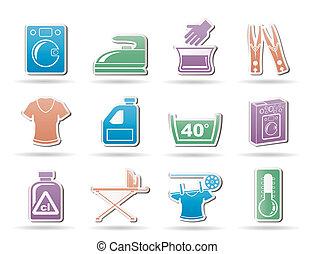 machine, wasserij, was, iconen