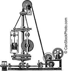 Machine wire, vintage engraving.