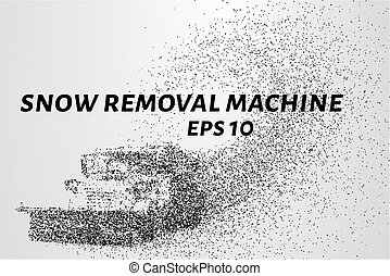 Machine with a plow removes snow and spreads sand. Snow ...