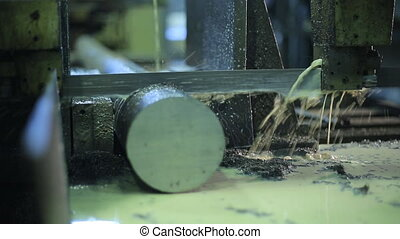 Machine with metal band saw. Industrial works precision....