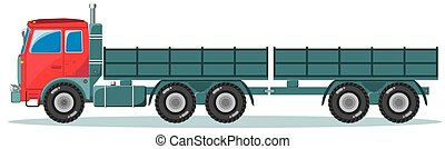 Machine with Two Empty Trailers, Vector