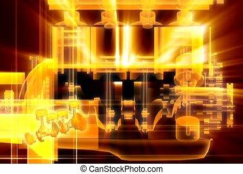 machinerie, illuminer, mécanique
