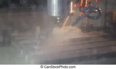 machinerie, industriel, cnc, moudre, opération, factory.,...