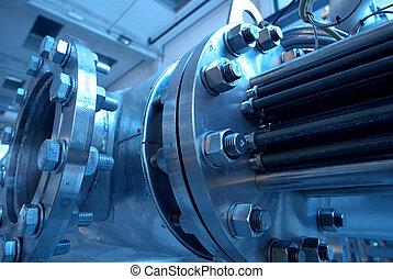 machinerie, tubes, vapeur, puissance, turbine, canaux transmission, plante