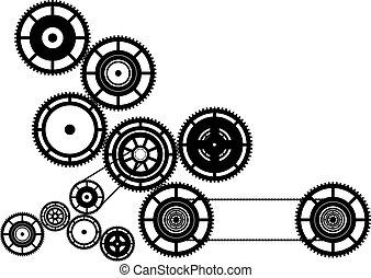 Machinery - Black silhouette of machinery.