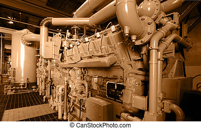 Machinery - Compressor station / sepia.
