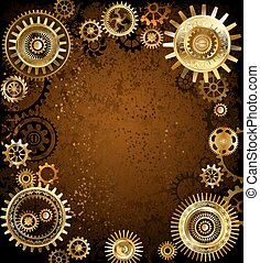 Machinery concept - gold and brass gears on rusty background...