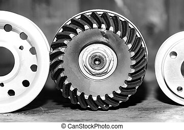Machinery concept. Set of various gears