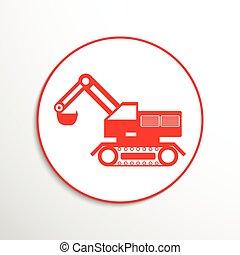 machinery., construção, escavador