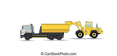 machinery., construção, illustration., vetorial