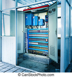 Machinery control room - Factory floor, automated machinery...