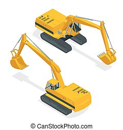 machinery., excavator., isometric, especiais, crawler