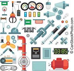 Machinery flat icons