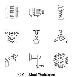 Machinery gear icon set, outline style