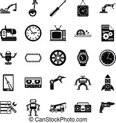 Machinery icons set, simple style