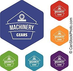Machinery icons vector hexahedron