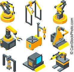 machinery., isometric, quadros, fábrica, máquina, ferramentas