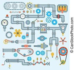 Machinery vector parts robotic mechanism icons set ...