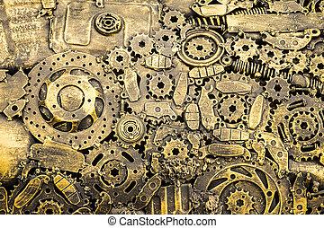 machinery., weinlese, metall, hintergrund