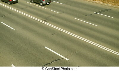 Machines go on three lanes. Time lapse