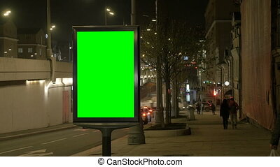 machines., ludzie, ekran, opuszczony, mało, zielony, ulica., tablica ogłoszeń