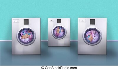Washing machines with blank screens jump from vibration cleaning laundry on floor by turquoise wall computer-generated imagery