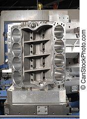 Racing engine block on a CNC machine