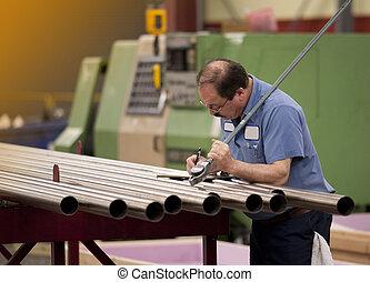 machinist, in, een, fabriek