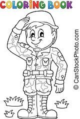 macho, 1, tema, coloração, soldado, livro