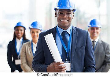 macho africano, arquitecto, y, equipo