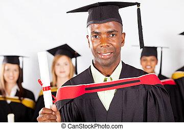 macho, africano, graduado, em, graduação