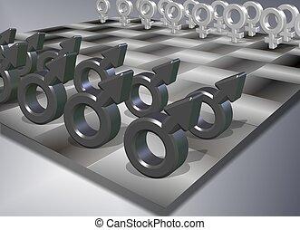 macho, ajedrez, hembra