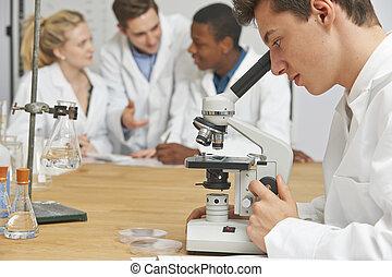 macho, alumno, utilizar, microscopio, en, clase ciencia