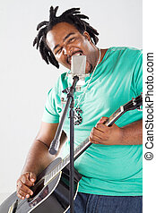 macho, americano africano, cantor