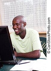 macho americano africano, estudante